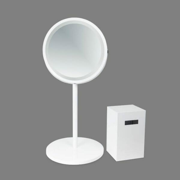foto lustro okrągłe białe